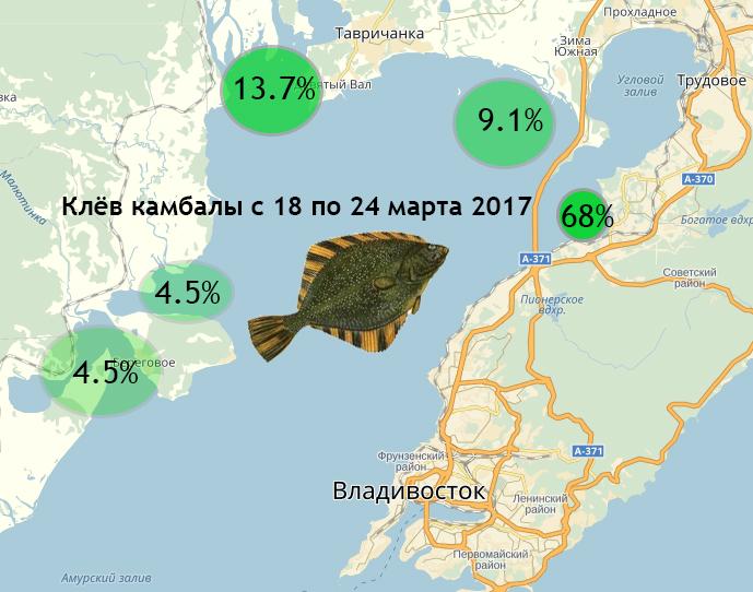 Карта клёва во Владивостоке. Камбала с 18 по 24 марта.